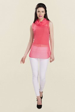 Ishin Peach Solid Georgette Top