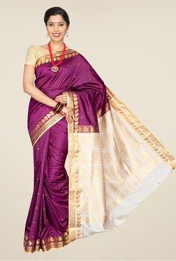 Pavecha's Magenta Banarasi Cotton Silk Rich Pallu Saree