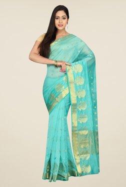 Pavecha's Turquoise Banarasi Cotton Silk Self Design Saree
