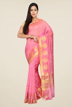 Pavecha's Pink Banarasi Cotton Silk Self Design Saree
