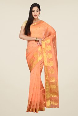 Pavecha's Peach Banarasi Cotton Silk Self Design Saree