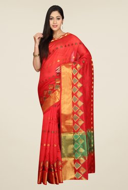 Pavecha's Red Banarasi Cotton Silk Self Design Saree