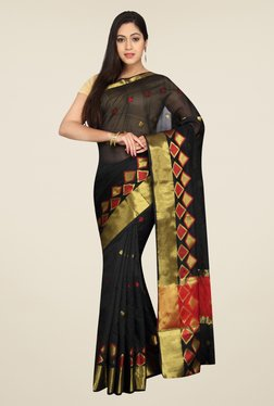 Pavecha's Black Banarasi Cotton Silk Self Design Saree