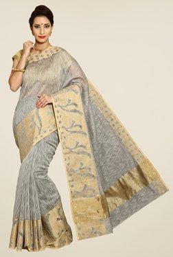 Pavecha's Grey Banarasi Cotton Silk Printed Saree