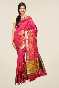 Pavecha's Pink Banarasi Self Design Cotton Silk Saree