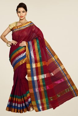 Pavecha's Red Mangalagiri Cotton Stripes Saree
