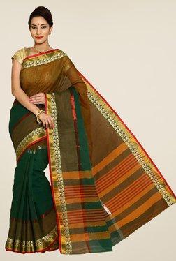 Pavecha's Green Mangalagiri Cotton Stripes Saree