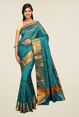 Pavecha's Blue Banarasi Self Design Cotton Silk Saree