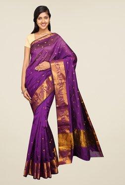 Pavecha's Purple Banarasi Self Design Cotton Silk Saree