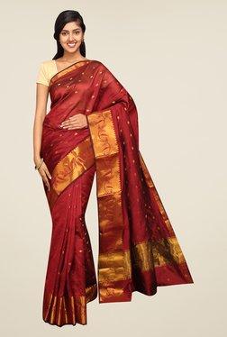 Pavecha's Maroon Banarasi Self Design Cotton Silk Saree