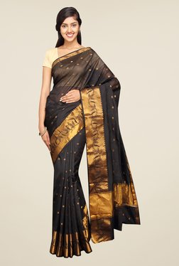 Pavecha's Black Banarasi Self Design Cotton Silk Saree