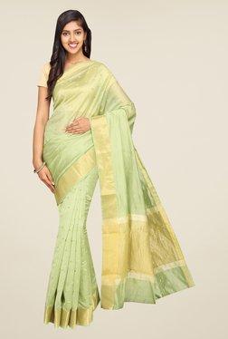 Pavecha's Green Banarasi Self Design Cotton Silk Saree