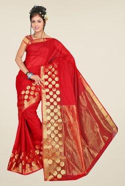 Pavecha's Red Kota Cotton Silk Saree