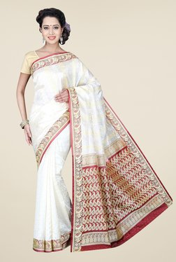 Pavecha's White Banarasi Cotton Silk Paisley Print Saree