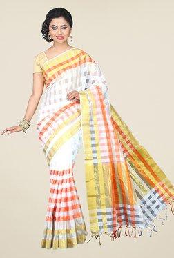 Pavecha's White Banarasi Cotton Silk Checks Saree