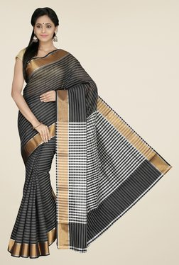 Pavecha's Black Banarasi Cotton Silk Striped Saree