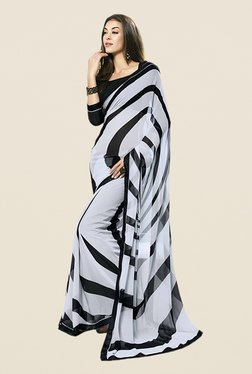 Ishin Grey & Black Faux Georgette Striped Saree