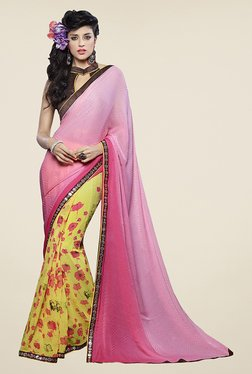 Ishin Yellow & Pink Faux Georgette Floral Print Saree
