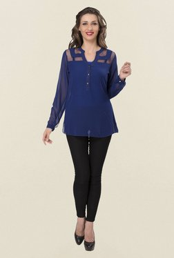 Ishin Blue Solid Georgette & Soft Net Top