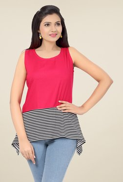 Ishin Pink Striped Poly Cotton & Poly Lycra Top