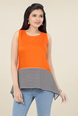 Ishin Orange Striped Viscose & Poly Lycra Top