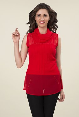 Ishin Red Solid Georgette Top