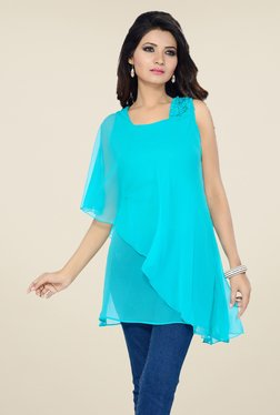 Ishin Sky Blue Solid Georgette Top