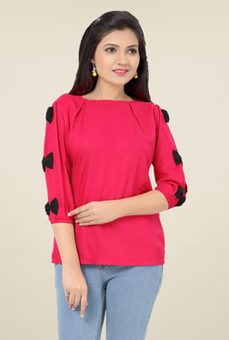 Ishin Pink Solid Poly Cotton Top