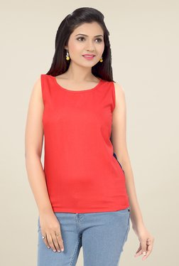 Ishin Coral Solid Viscose & Georgette Top