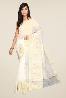 Pavecha's Off White Banarasi Cotton Silk Saree