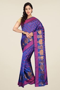Pavecha's Purple Banarasi Cotton Silk Self Design Saree
