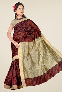 Pavecha's Maroon & Beige Banarasi Cotton Silk Saree
