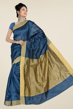 Pavecha's Blue & Beige Banarasi Cotton Silk Saree