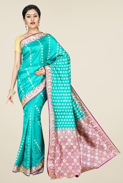 Pavecha's Turquoise Banarasi Cotton Silk Printed Saree