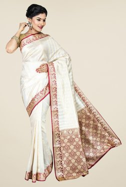 Pavecha's White Banarasi Cotton Silk Printed Saree