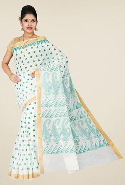 Pavecha's White & Green Mangalagiri Cotton Saree