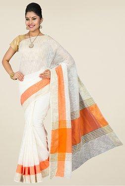 Pavecha's White & Orange Banarasi Cotton Silk Saree