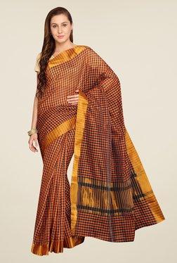 Pavecha's Orange Banarasi Cotton Silk Saree - Mp000000000563568