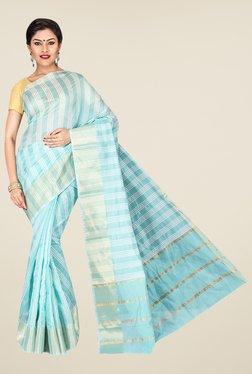 Pavecha's Blue Banarasi Cotton Silk Stripes Saree