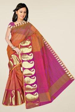 Pavecha's Brown Chettinad Cotton Silk Saree