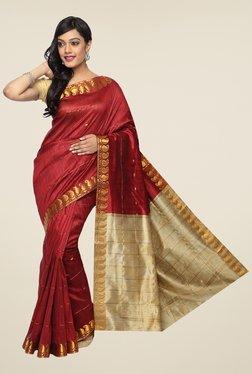 Pavecha's Maroon Banarasi Cotton Silk Zari Striped Saree
