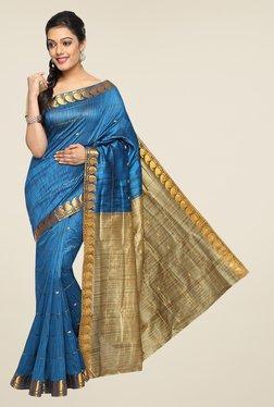 Pavecha's Blue Banarasi Cotton Silk Zari Striped Saree