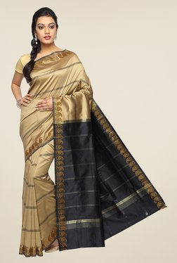 Pavecha's Beige & Black Banarasi Cotton Silk Striped Saree