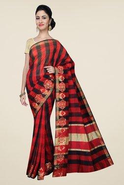 Pavecha's Red & Black Banarasi Cotton Silk Saree