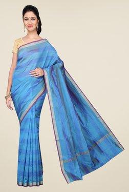 Pavecha's Blue Banarasi Cotton Silk Striped Saree