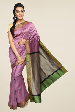Pavecha's Purple Banarasi Cotton Silk Zari Printed Saree