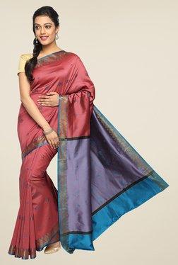 Pavecha's Maroon Banarasi Cotton Silk Zari Printed Saree