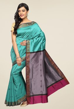 Pavecha's Teal Banarasi Cotton Silk Zari Printed Saree