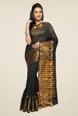 Pavecha's Black Banarasi Cotton Silk Zari Saree