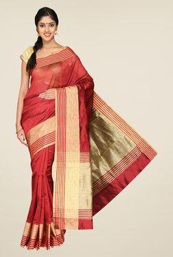 Pavecha's Red Banarasi Cotton Silk Solid Zari Saree